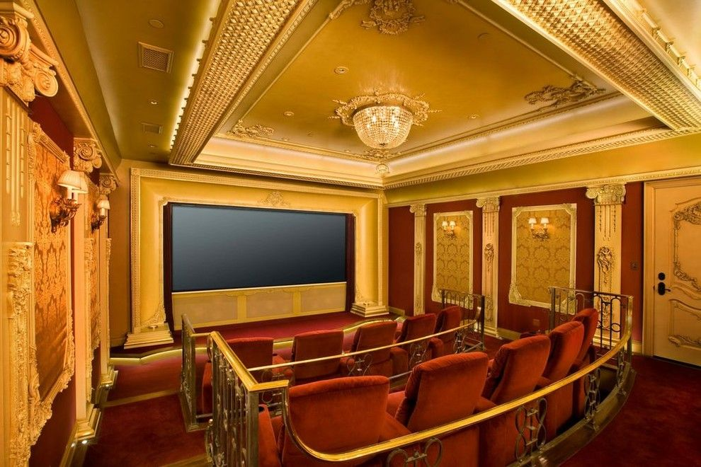 Champlin Movie Theater for a Traditional Home Theater with a Ornate Beige Door and Home Theaters by Roberts Home Audio and Video Inc.