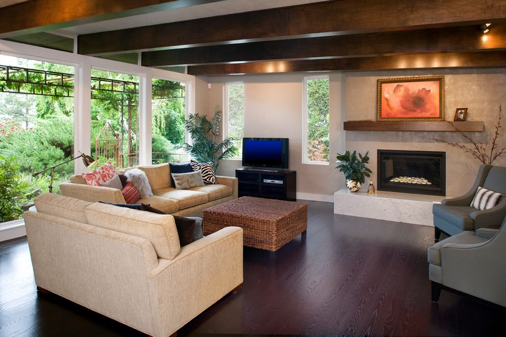 Chase Bank Boise for a Contemporary Living Room with a Fireplace and the Beams Alone Are Beautiful by Strite Design + Remodel