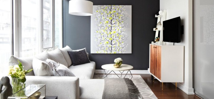 Cherry Blossoms Dating for a Contemporary Family Room with a Accent Wall and Project in Progress by Lisa Petrole Photography