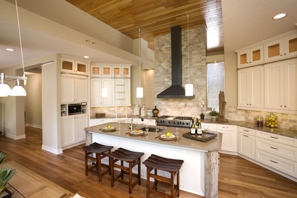 Chiminey for a Traditional Kitchen with a Wood Paneled Ceiling and Kitchen by Martin Patrick 3