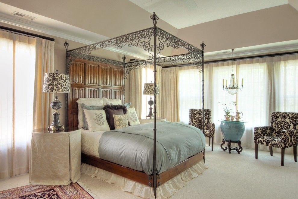 Chinese Fringe Flower for a Traditional Bedroom with a Neutral Backdrop and Bedroom Suite: Traditional by Lisa Stewart Design