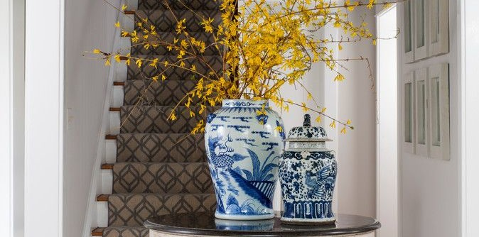 Chinese Fringe Flower for a Traditional Entry with a Blue and White Ceramic Vase and Bethesda Family Home by Breeze Giannasio Interiors