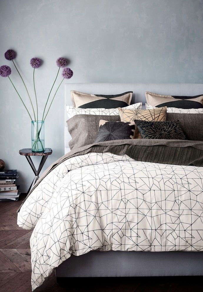 Chinese Fringe Flower for a Transitional Bedroom with a Transitional and Kelly Wearstler Haze Bedding Collection by Bloomingdale's