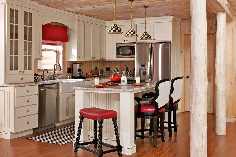 Chiohd for a Farmhouse Kitchen with a Checkerboard and Walloon Lake Home, Craftsman Cabin by Cottage Company of Harbor Springs