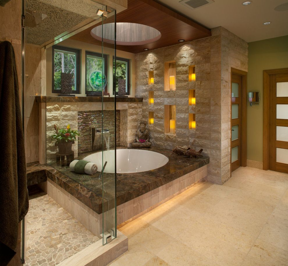 Chiseled Face for a Asian Bathroom with a Tile Backsplash and Zen Paradise by James Patrick Walters