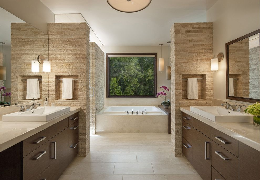 Chiseled Face for a Contemporary Bathroom with a Wall Sconces and Boulder Residence by Mosaic Architects Boulder