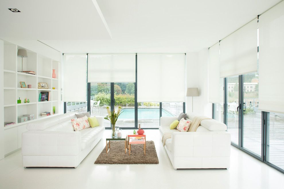 Chiseled Face for a Modern Living Room with a Built in Shelves and Somfy by Somfy Systems