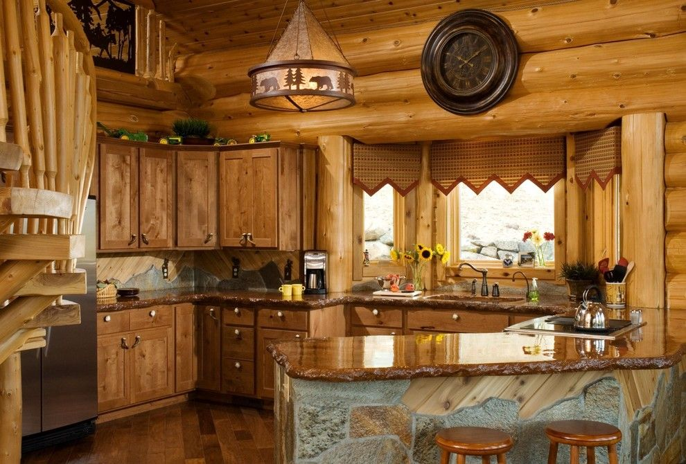 Chiseled Face for a Rustic Kitchen with a Chiseled Edge and Yakima, Wa by Summit Log & Timber Homes