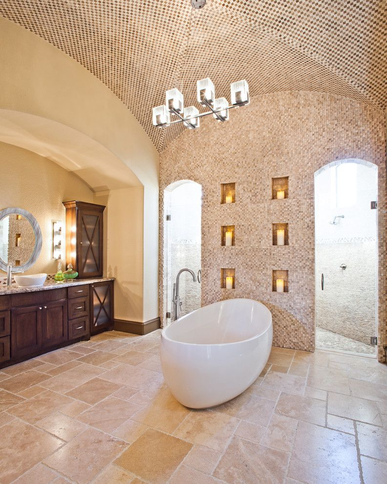 Chiseled Face for a Traditional Bathroom with a Chandelier and Watson House by Maison Market