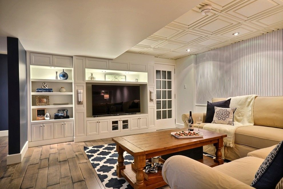 Cicero Theater for a Transitional Basement with a Suspended Ceiling and Blue Dream Basement by Melyssa Robert Designer