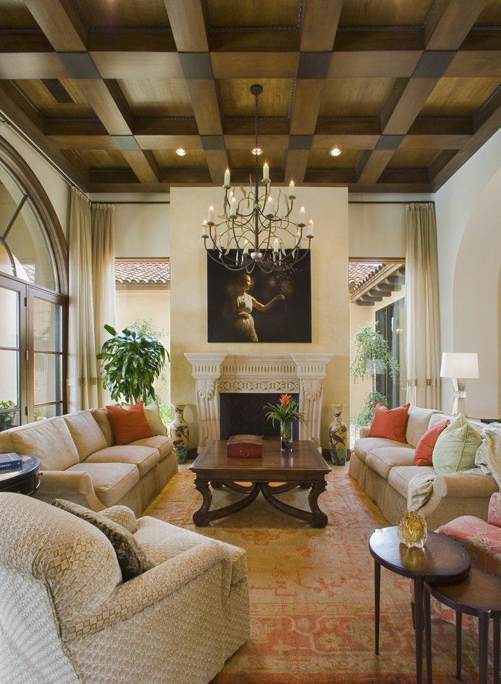 Cielo Ranch for a Mediterranean Living Room with a Chandelier and Seven Oaks Showcase by Jauregui Architecture Interiors Construction
