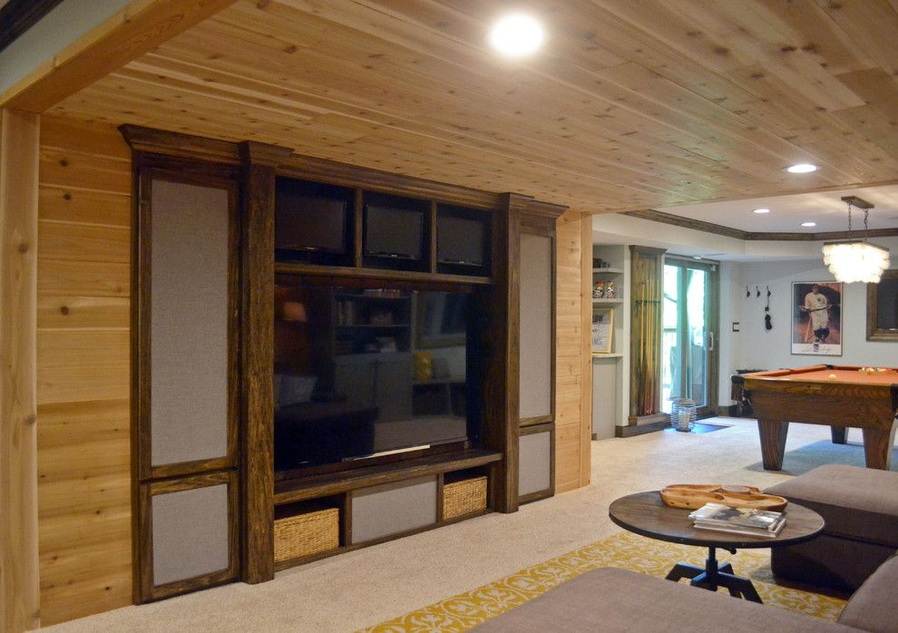 Cincinnati Theater for a Rustic Home Theater with a Bar and Basement by Wethington Design Build Llc