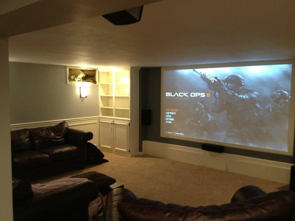 Cincinnati Theater for a Traditional Home Theater with a Traditional and Audio/visual Installation by Keystone Homes in Troy
