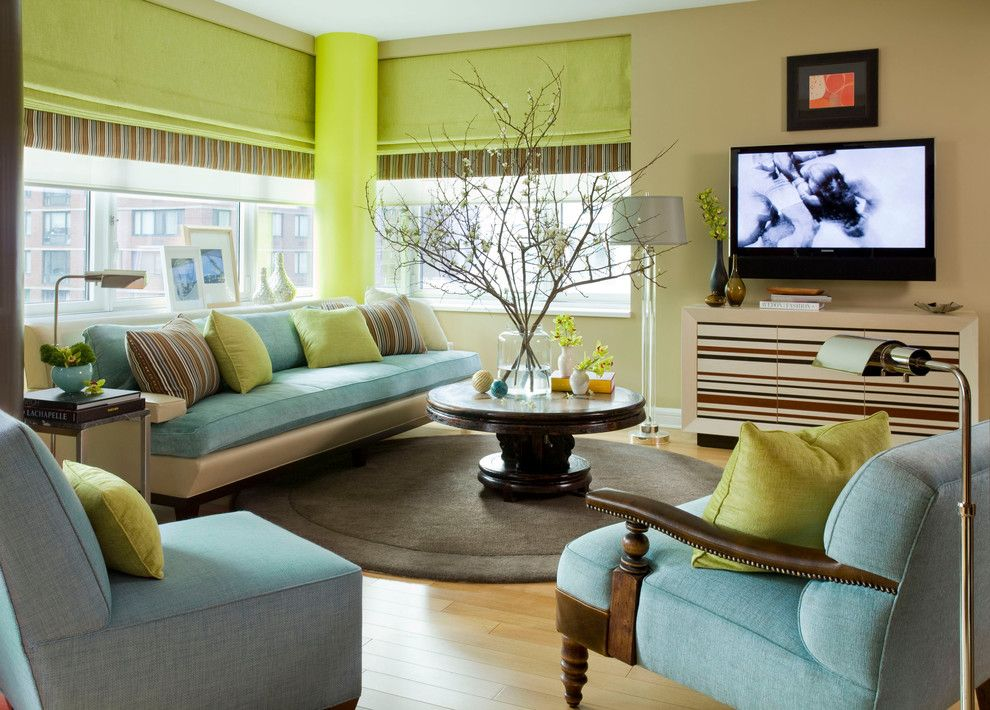 Cincinnatian Hotel for a Contemporary Living Room with a Media Cabinet and Riverside Drive, Nyc Residence by Willey Design Llc