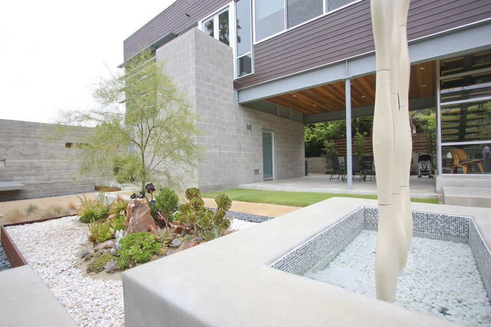Cinder Block Dimensions for a Modern Landscape with a Water Feature and Grounded   Modern Landscape Architecture by Grounded   Richard Risner Rla, Asla