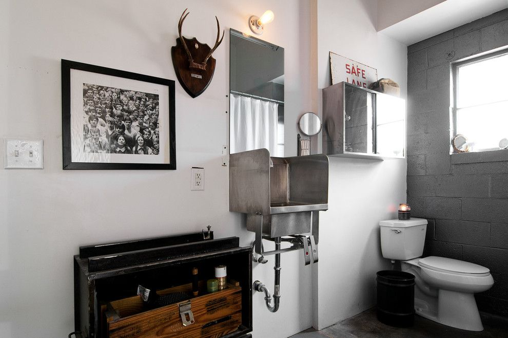 Cinder Block Retaining Wall for a Industrial Bathroom with a Black and White Photography and Spencer and Alex by Lucy Call