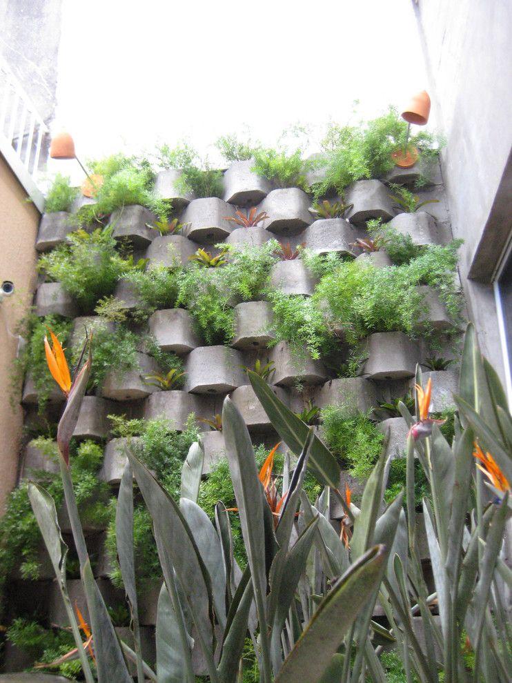 Cinder Block Retaining Wall for a Tropical Landscape with a Bird of Paradise and Paisagismo Corporativo   Pinheiros   São Paulo/brasil by Item 6 Arquitetura E Sustentabilidade