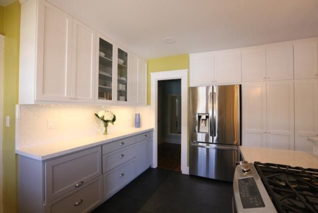 Clap Board for a Contemporary Kitchen with a Clap Board and North Park Kitchen Renovation with Shaker Cabinets by Mathis Custom Remodeling