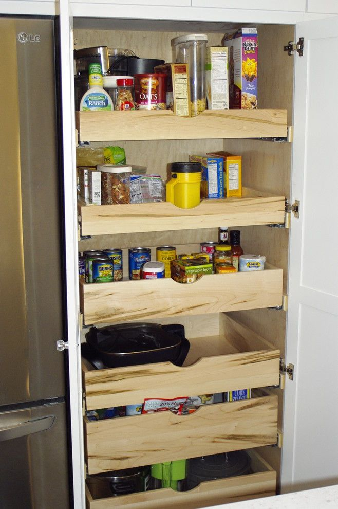 Clap Board for a Contemporary Kitchen with a Storage and Custom Pull Out Pantry Cabinet by Mathis Custom Remodeling