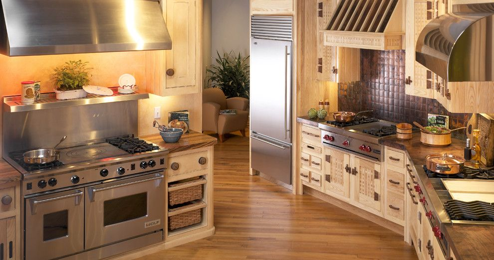 Clarks Appliances for a Contemporary Kitchen with a Clarke Showroom and Zebra Wood Counters and Basket Weaved Cabinets by Clarke Appliance Showrooms