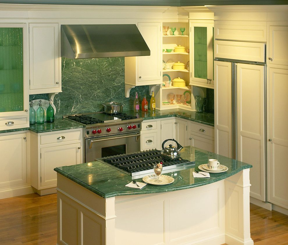Clarks Appliances for a Eclectic Kitchen with a Clarke Showroom and Green Marble and Fluted Glass by Clarke Appliance Showrooms