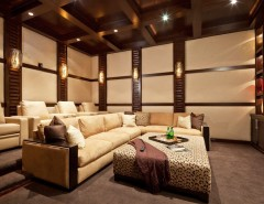 Clarksville Movie Theater for a Contemporary Home Theater with a Beige Patterned Ottoman and San Andreas by Blackbird Interiors