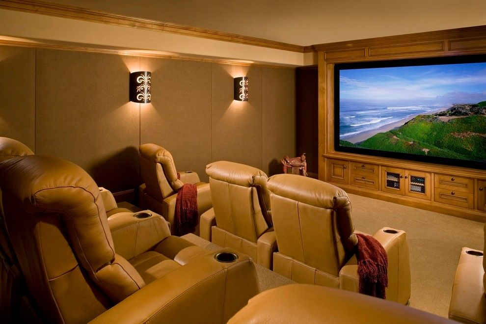Clarksville Movie Theater for a Rustic Home Theater with a Padded Beige Wall and Santa Lucia Preserve Ranch, Carmel Ca by Andrea Bartholick Pace Interior Design