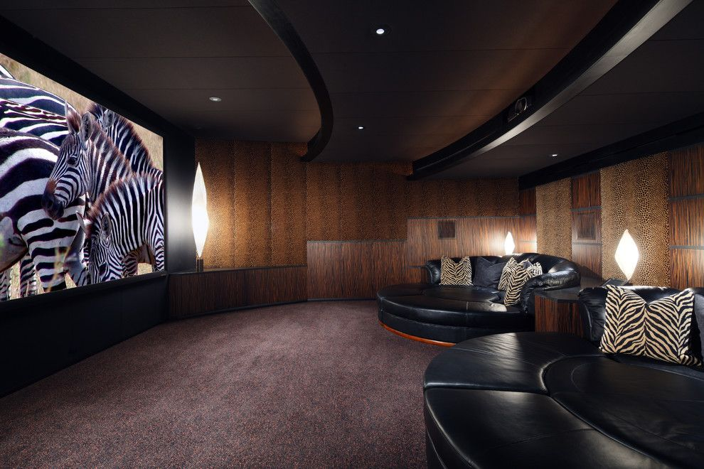 Clarksville Movie Theater for a Southwestern Home Theater with a Round Sofa and Palm Desert Theater by Deep River Partners