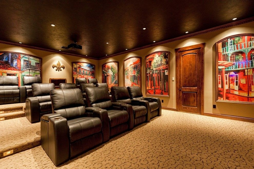 Clarksville Movie Theater for a Traditional Home Theater with a Arched Frames and Lake House by Mill Creek Custom Homes