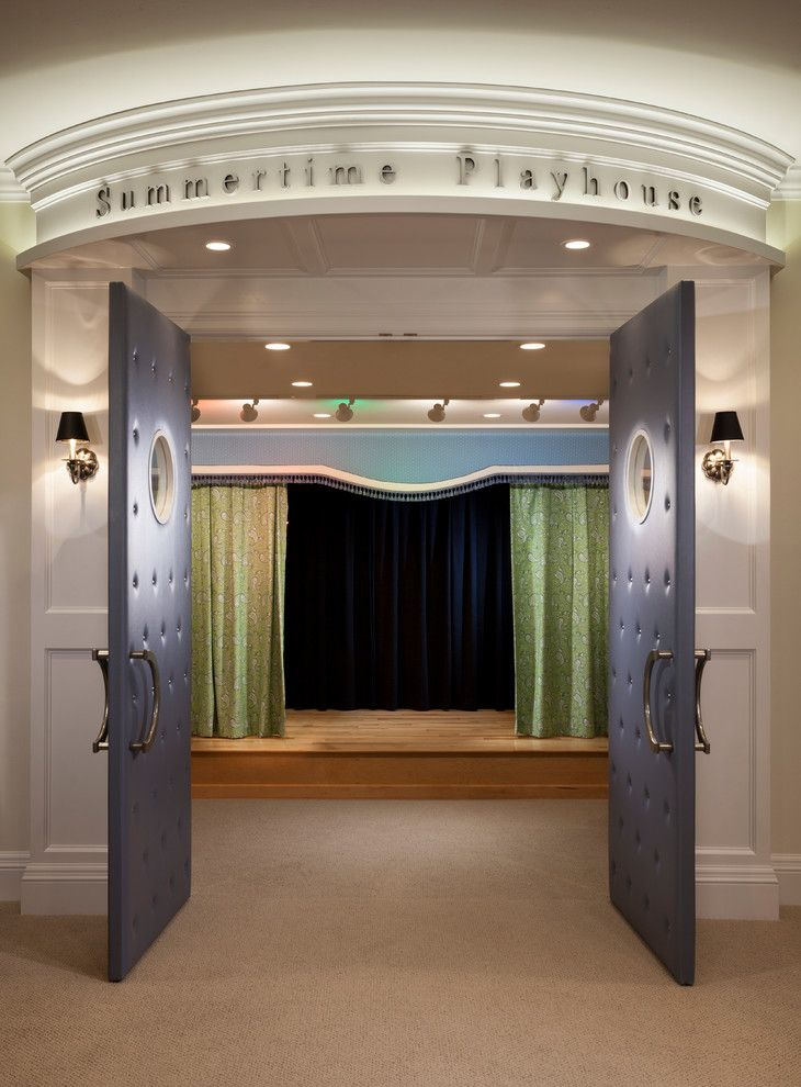 Clarksville Movie Theater for a Traditional Home Theater with a Curtain Panels and Country Home   02 by Think Architecture Inc.