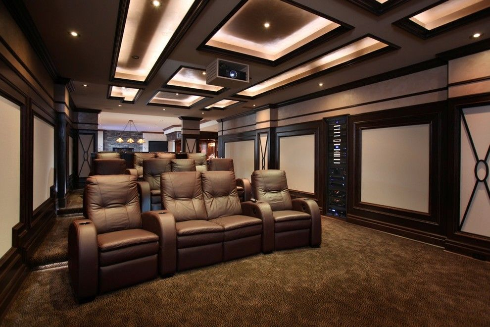 Clarksville Movie Theater for a Transitional Home Theater with a Theater Seating and Dedicated Theater Room by Station Earth