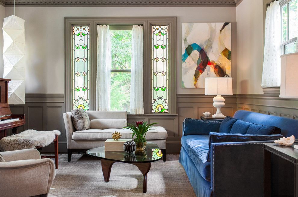 Classical Kusc for a Contemporary Living Room with a Light Gray Rug and Brookline Townhouse by Sean Litchfield Photography