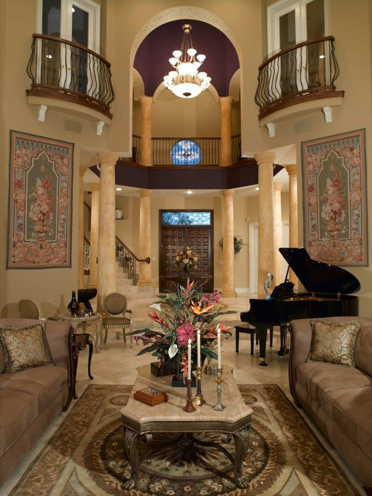 Classical Kusc for a Mediterranean Living Room with a Old World and Private Residence by Jennifer Lang Designs, Inc.