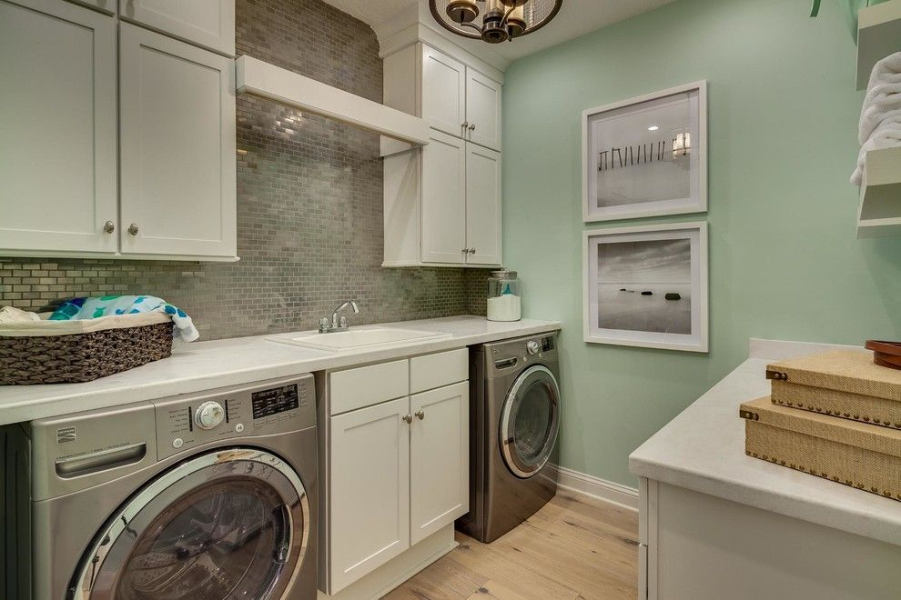 Cleaning Front Load Washer for a Beach Style Laundry Room with a Single Wall Laundry and Boca Ii Project by Dream Finders Homes