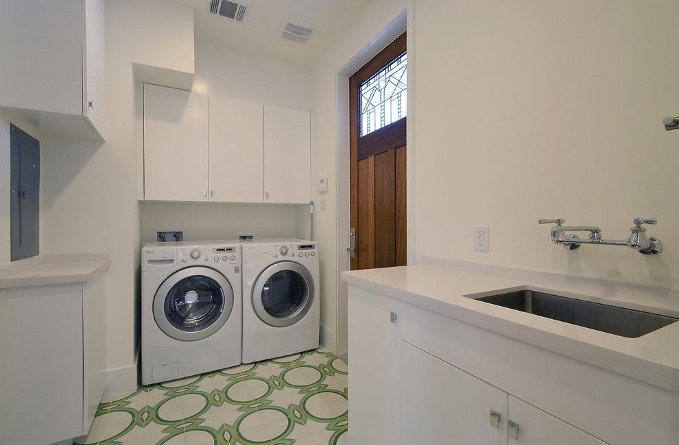 Cleaning Front Load Washer for a Contemporary Laundry Room with a Sink and Overlook by Hatch Works
