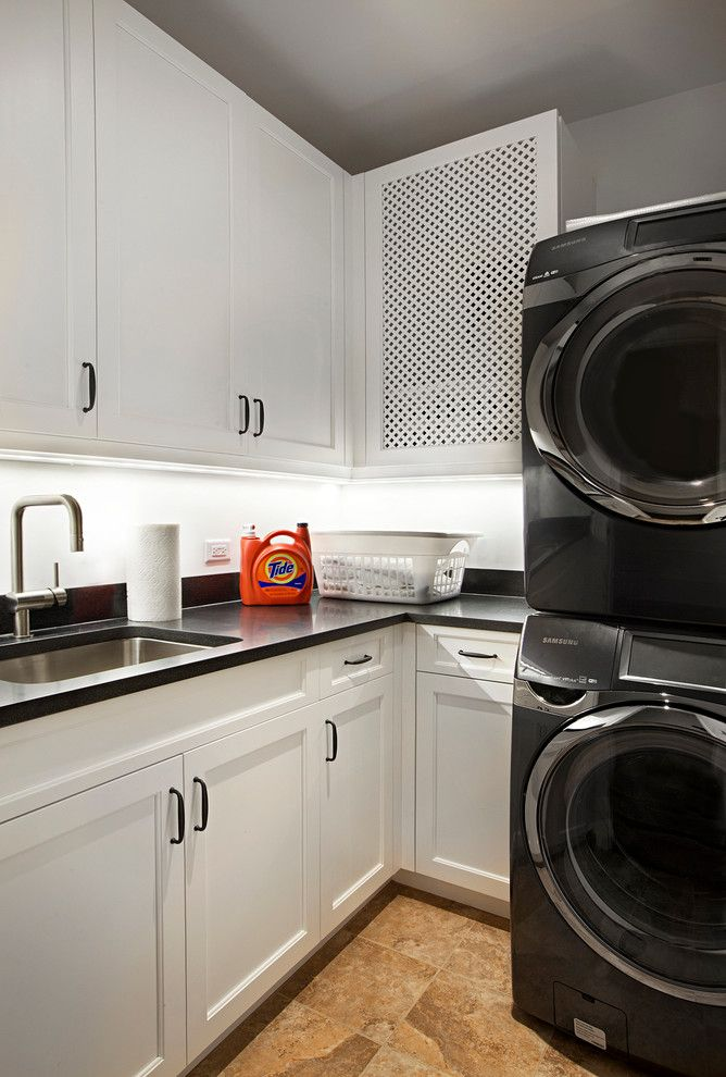 Cleaning Front Load Washer for a Traditional Laundry Room with a Brushed Stainless Faucet and Laundry Room by Tzs Design