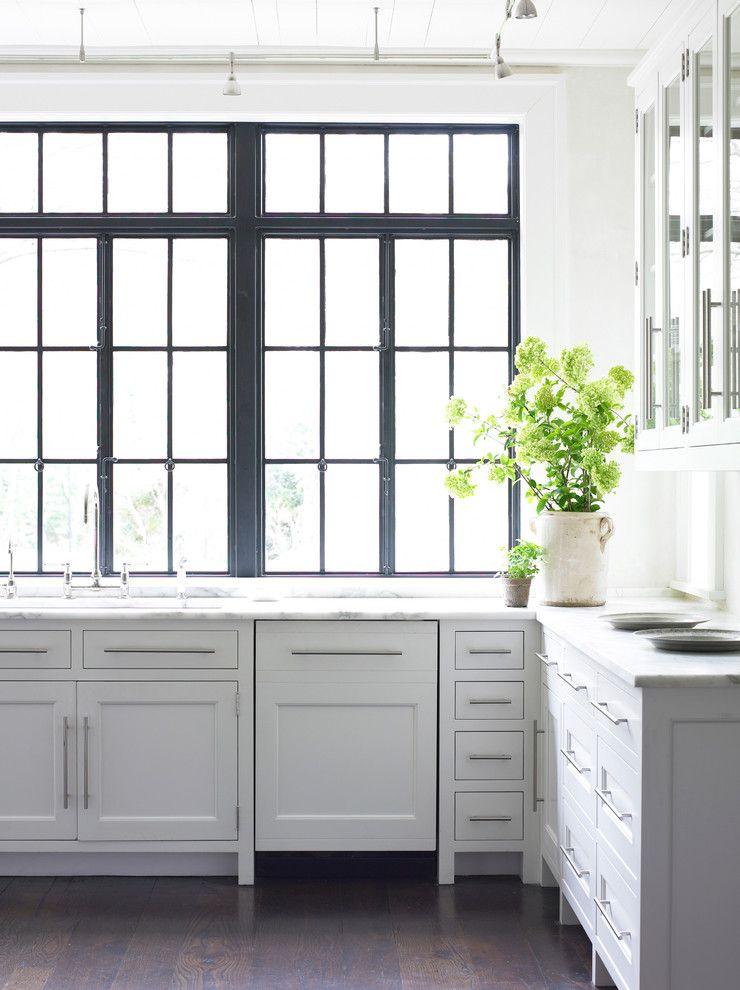 Cleaning Windows with Vinegar for a Transitional Kitchen with a Glass Front Cabinets and Kitchen by Carter Kay Interiors