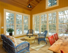 Cleaning Wood Floors with Vinegar for a Farmhouse Sunroom with a Wood Paneling and LEED Platinum Home by Phinney Design Group