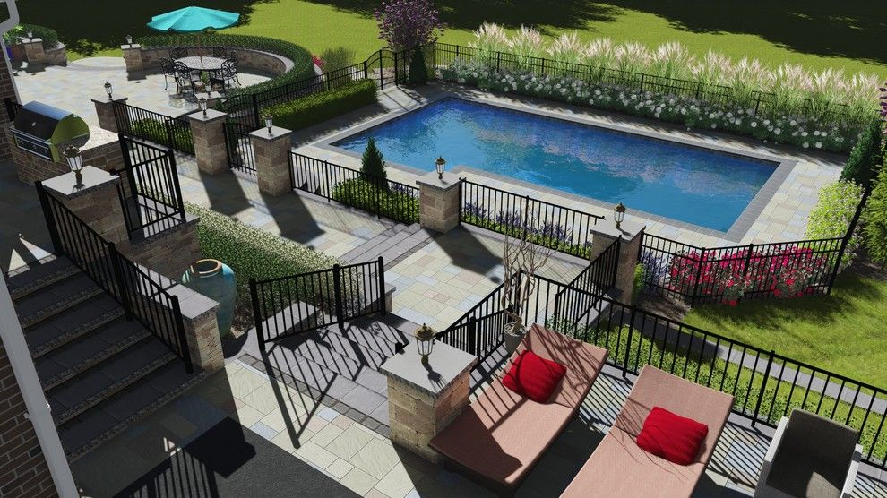 Clearstory for a Traditional Spaces with a 3d Visualization and Large Multi Level Patio and Pool, Nj   3d Imaging by Clearstory Imaging