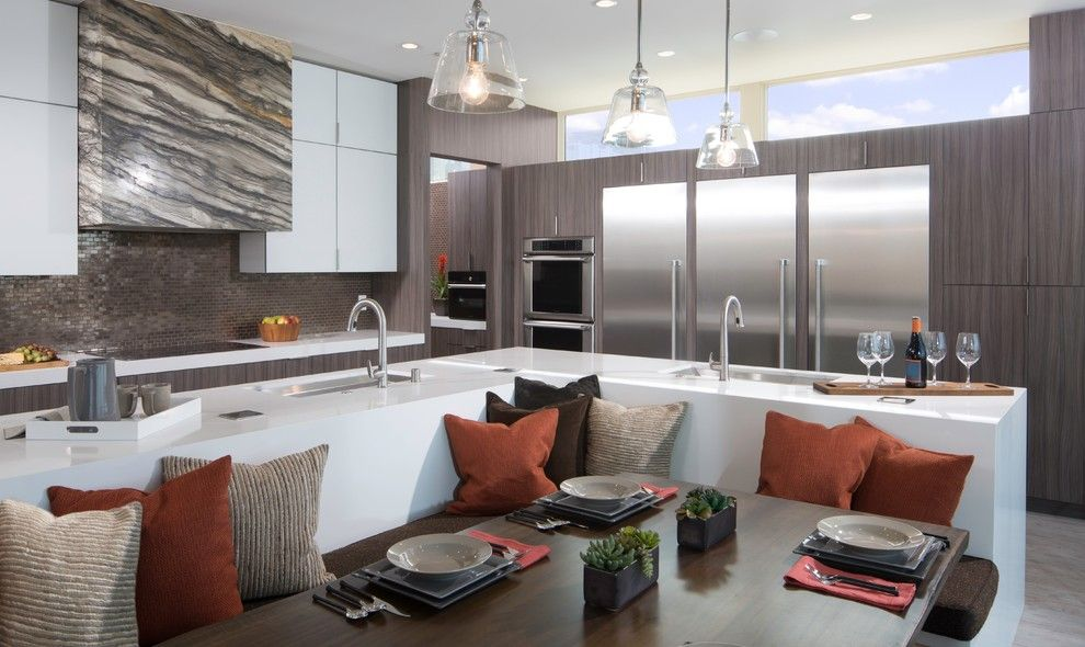 Clearview Windows for a Contemporary Kitchen with a Banquette and Thermador by Thermador Home Appliances