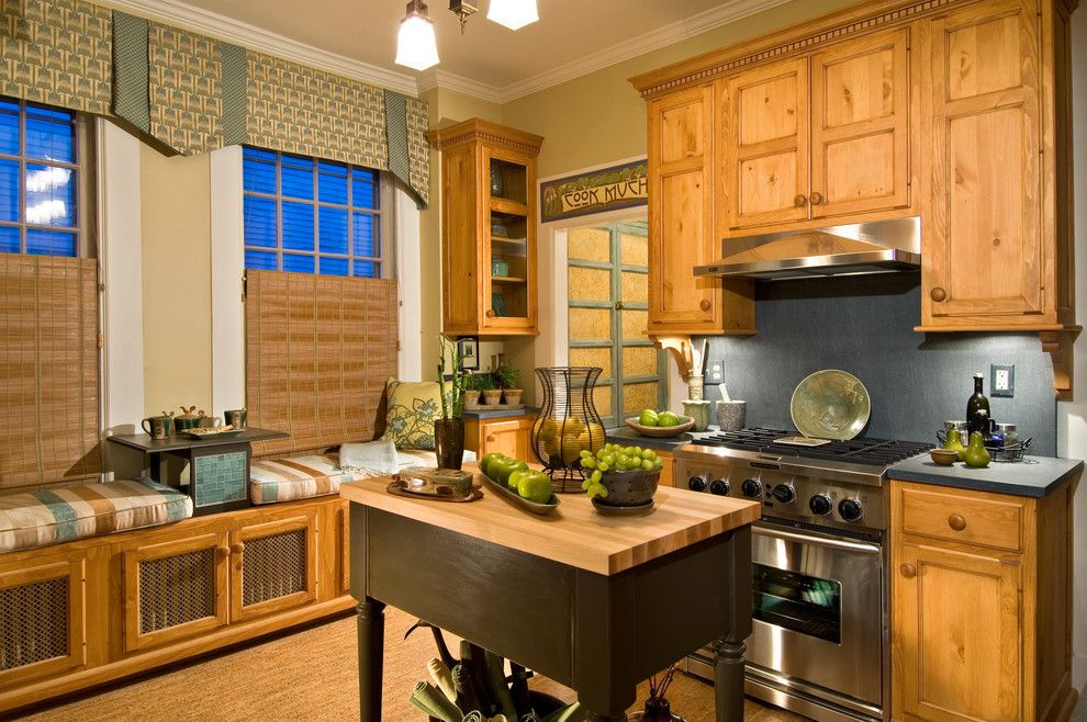 Clearview Windows for a Farmhouse Kitchen with a Pine Custom Cabinets Professionally Decorated Window Treatme and Showhouse Kitchen by KITCHEN and BATH WORLD, INC