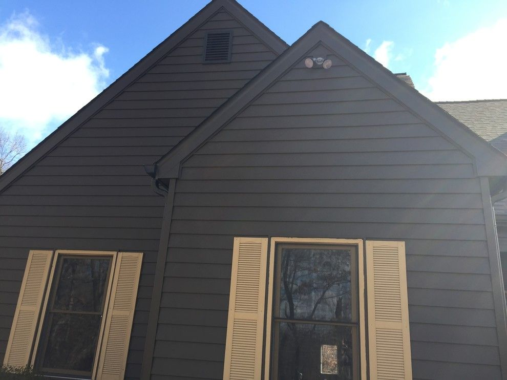 Clearview Windows for a Rustic Exterior with a Dark Siding and Insulated Wide Lap Vinyl Siding System   Chesterfield, Mo by Clearview Windows and Siding
