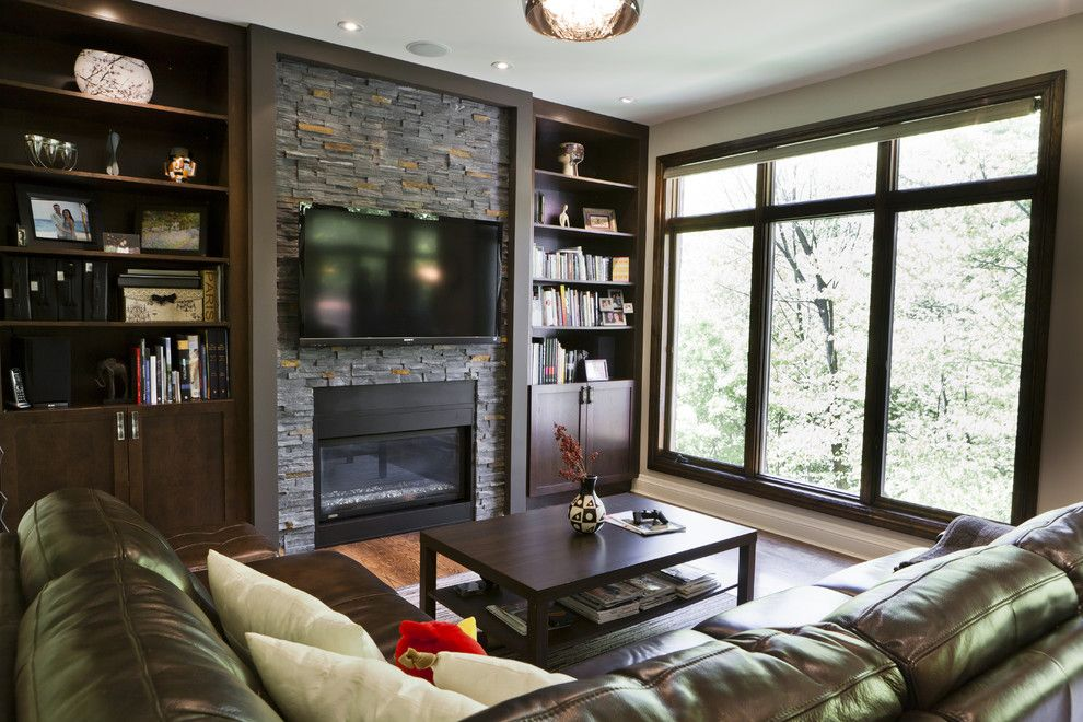 Closest Lowes for a Contemporary Living Room with a Light Beige Wall and Rustic Modern Kitchen and Family Room by Biglarkinyan Design Planning Inc.