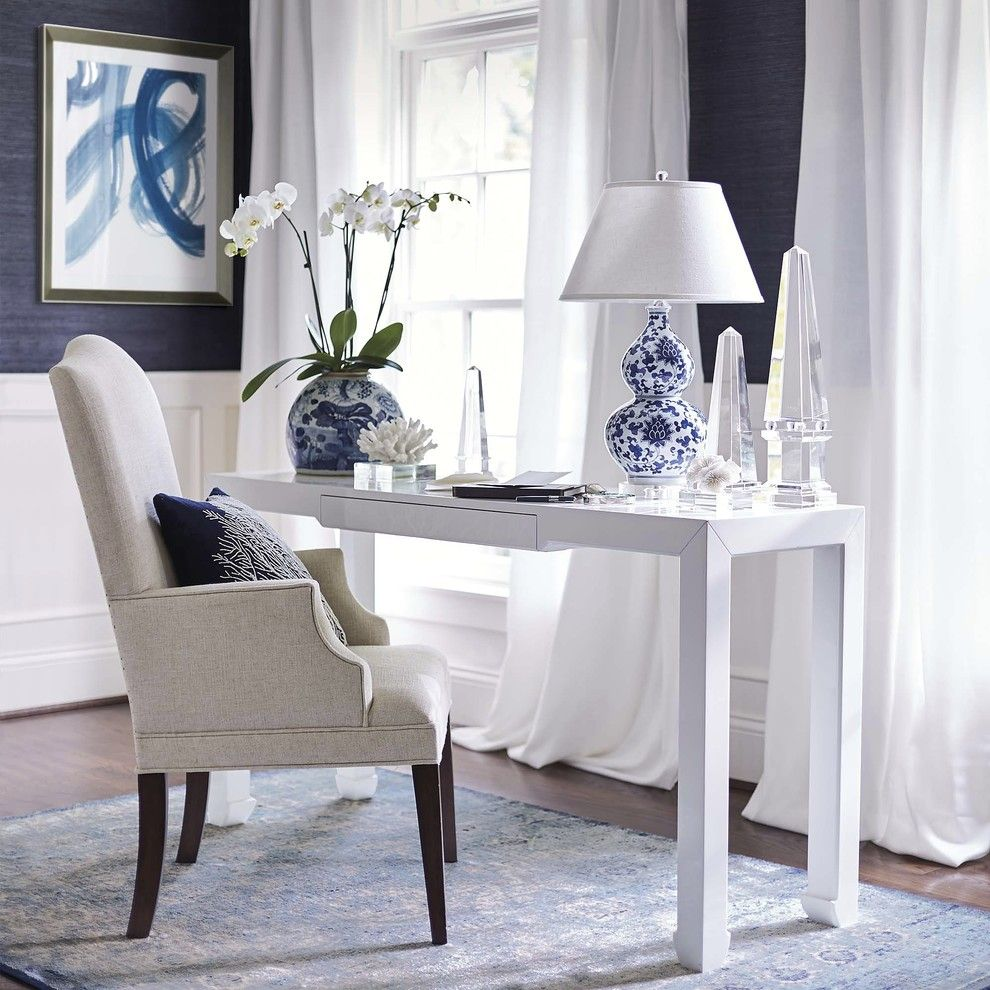 Closest Lowes for a Traditional Home Office with a Blue and White Lamp and Frontgate by Frontgate