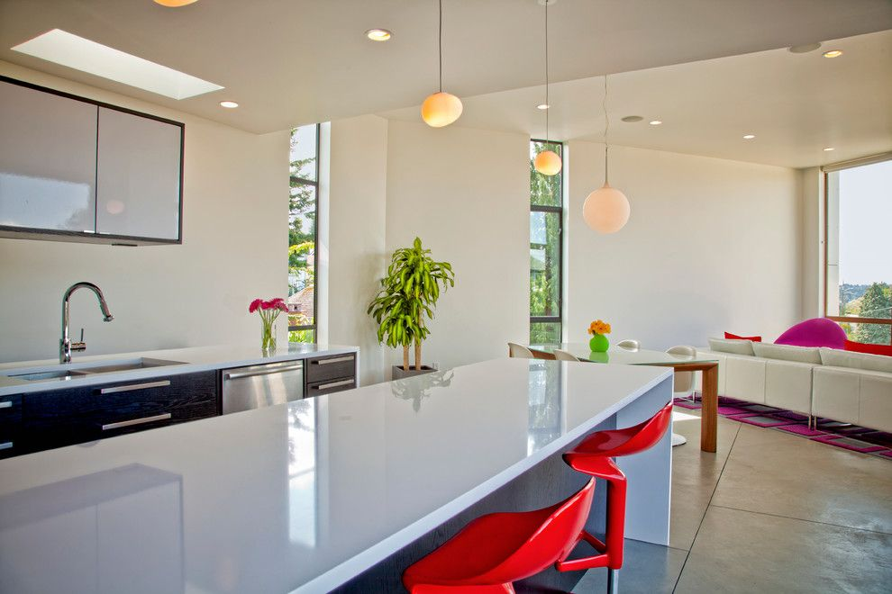 Coastal Kitchen Seattle for a Contemporary Kitchen with a Red Bar Stools and Kitchens by Chris Pardo Design   Elemental Architecture