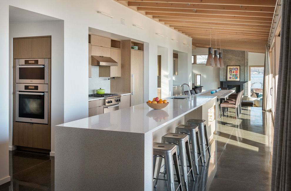 Coastal Kitchen Seattle for a Contemporary Kitchen with a Sloped Ceiling and Mercer Island New Construction by Dyna Contracting
