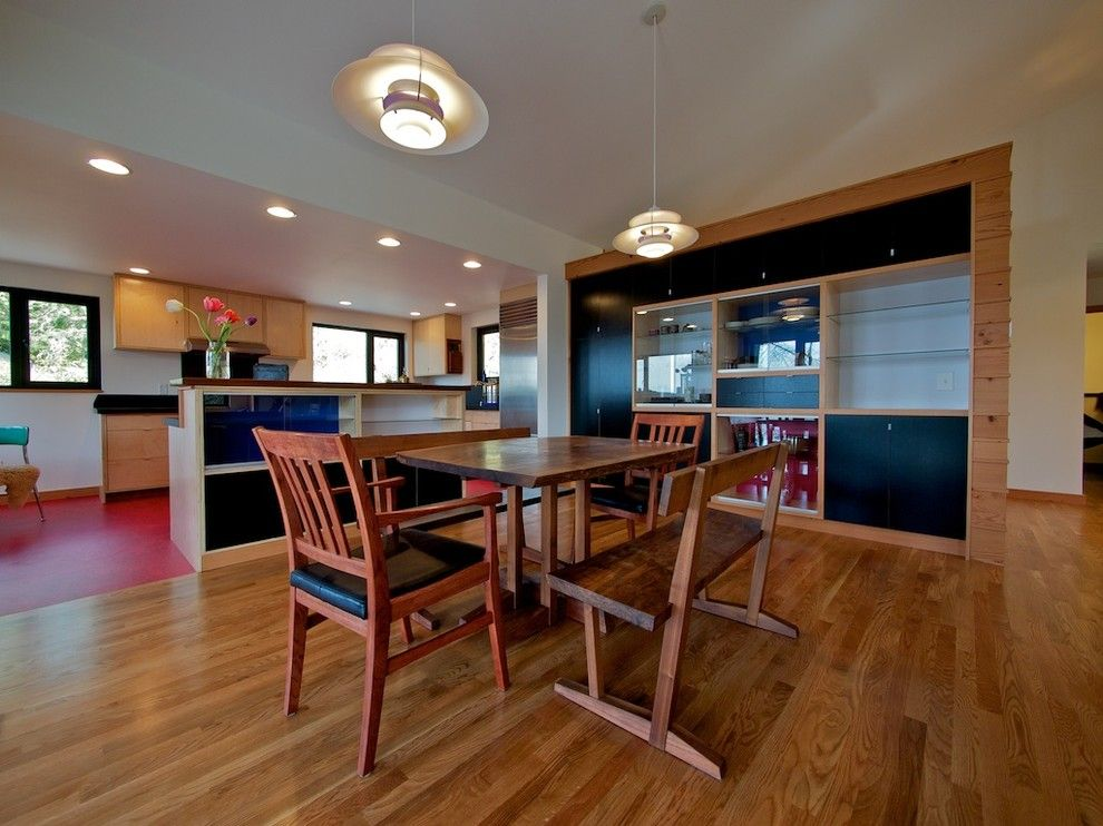 Coastal Kitchen Seattle for a Modern Dining Room with a Black Cabinets and Modern Foursquare by Bicycle Homebuilding Company