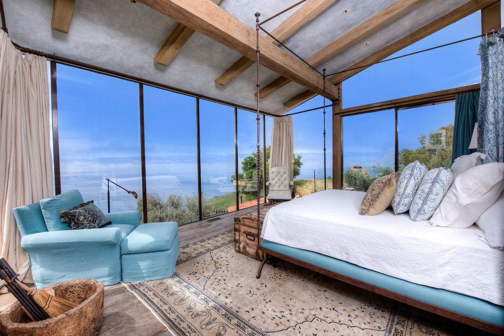 Coastline Realty for a Mediterranean Bedroom with a Wood Ceiling Beams and Big Sur Coast Ridge Estate by Decker Bullock Sotheby's International Realty