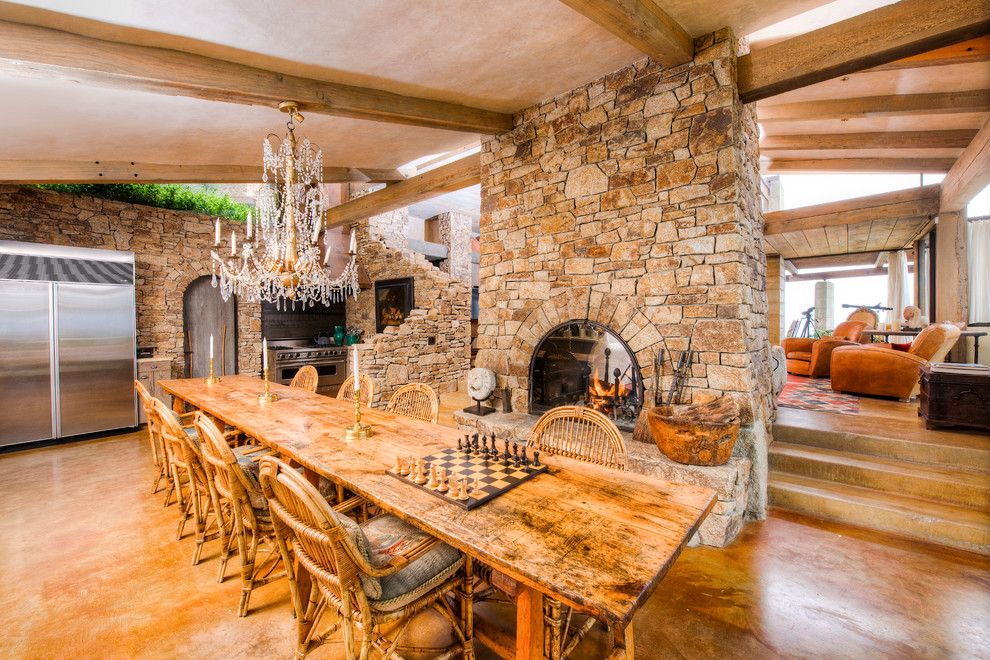 Coastline Realty for a Mediterranean Dining Room with a Rustic Modern and Big Sur Coast Ridge Estate by Decker Bullock Sotheby's International Realty