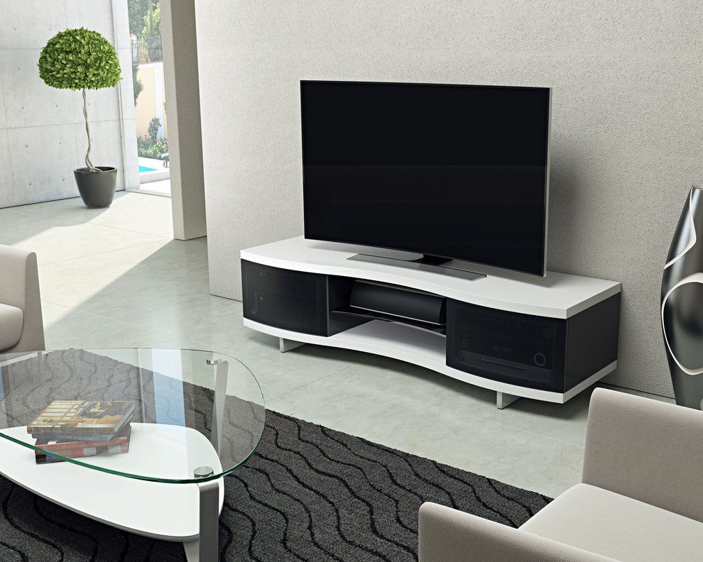 Coconut Grove Theater for a Contemporary Living Room with a Media Cabinet and Bdi Furniture by Bdi Furniture